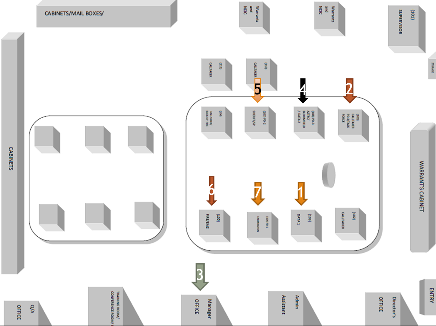 Aztec Shooting Call Center Layout